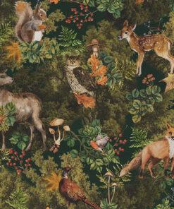 digitale printstof 251 Autumn Woodland stof met bosdieren decoratiestof gordijnstof 1.151030.1397.525