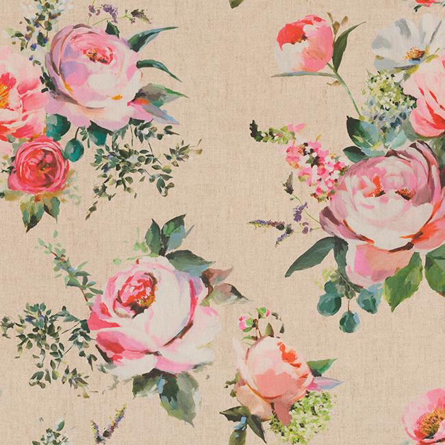 katoenen stof Roses Linen stof met rozen boeket decoratiestof gordijnstof 1.151030.1405.010