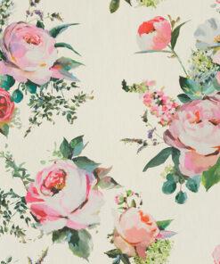 katoenen stof Roses Ivory stof met rozen boeket decoratiestof gordijnstof 1.151030.1406.110