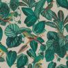 linnenlook dieren stof met bladeren en vogels printstof decoratiestof gordijnstof 1.151530.1023.525