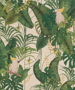 linnenlook dieren stof met bladeren en vogels printstof decoratiestof gordijnstof 1.151530.1024.525