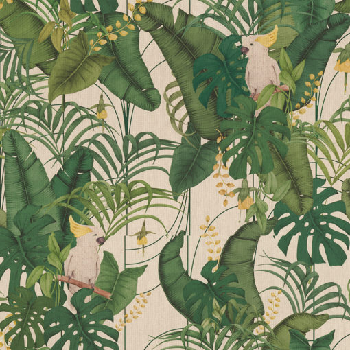 linnenlook Mister Cockatoo dieren stof met kaketoes printstof decoratiestof gordijnstof 1.151530.1024.525