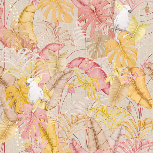 linnenlook dieren stof met bladeren en vogels printstof decoratiestof gordijnstof 1.151530.1025.230