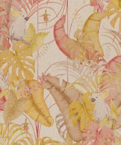 linnenlook Miss Cockatoo stof met kaketoes decoratiestof gordijnstof 1.151530.1025.230