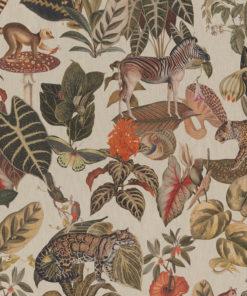 linnenlook dieren stof met bladeren en wilde dieren printstof decoratiestof gordijnstof 1.151530.1026.525