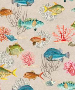 linnenlook dieren stof met bladeren en vogels printstof decoratiestof gordijnstof 1.151530.1027.655