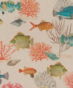 linnenlook Coral Fish dieren stof met vissen printstof decoratiestof gordijnstof 1.151530.1027.655
