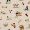 linnenlook dieren met boerderijdieren printstof decoratiestof gordijnstof 1.151530.1028.230
