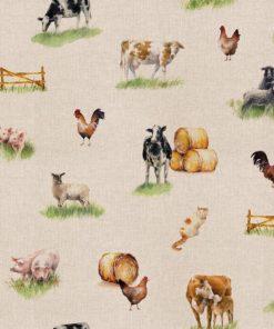 linnenlook Farm Life stof met boerderijdieren printstof decoratiestof gordijnstof 1.151530.1028.230