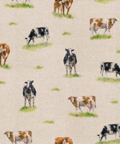 linnenlook dieren met boerderijdieren printstof decoratiestof gordijnstof 1.151530.1029.650