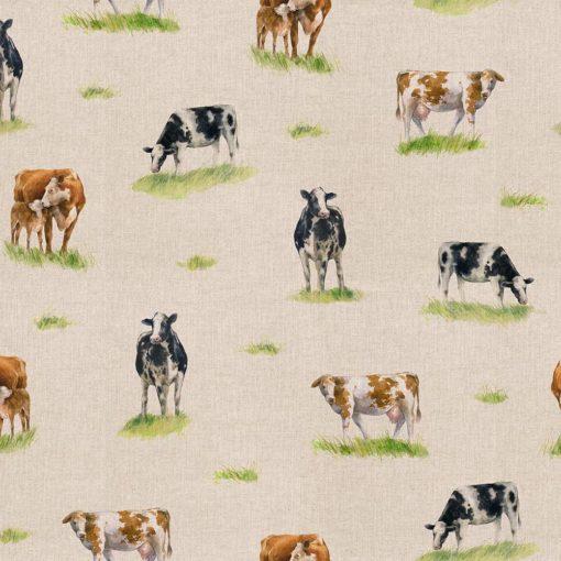 linnenlook Dairy Cow stof met koeien dieren met boerderijdieren printstof decoratiestof gordijnstof 1.151530.1029.650