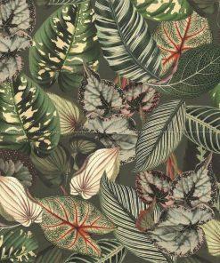 bedrukte velvet met bladeren printstof gordijnstof decoratiestof meubelstof velvet stof kopen velours stof kopen fluweel stof kopen 1.152520.1025.540