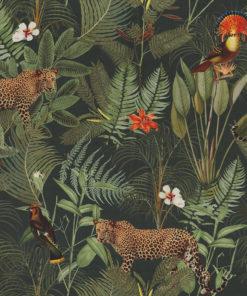 bedrukte velvet met luipaarden en vogels gordijnstof decoratiestof meubelstof velvet stof kopen fluweel stof kopen velours stof kopen 1.152520.1028.540