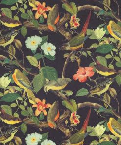bedrukte velvet met tropische vogels en bloemen gordijnstof decoratiestof meubelstof 1.152520.1029.630