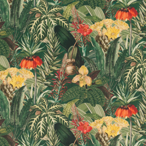 bedrukte velvet met tropische bloemen en planten gordijnstof decoratiestof meubelstof velvet stof kopen velours stof kopen fluweel stof kopen 1.152520.1030.540