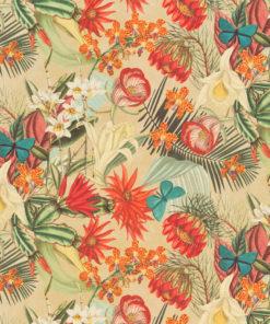 bedrukte velvet met bloemen en vlinders gordijnstof decoratiestof meubelstof 1.152520.1031.655