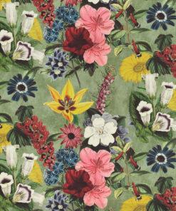 bedrukte velvet vintage velvet met bloemen gordijnstof decoratiestof meubelstof velvet stof kopen fluweel stof kopen velours stof kopen 1.152520.1032.655