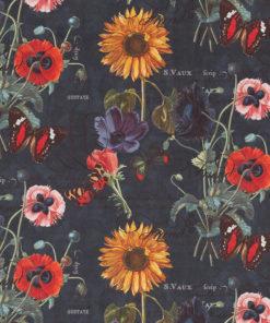 bedrukte velvet met bloemen en vlinders gordijnstof decoratiestof meubelstof 1.152520.1033.475