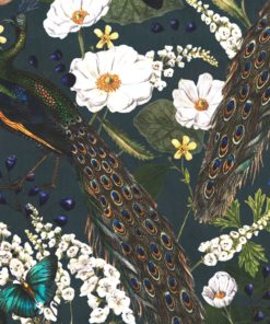Velvet pauwenstof printstof decoratiestof gordijnstof meubelstof velvet stof kopen fluweel stof kopen velours stof koipen 1.152540.1035.485