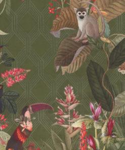 bedrukte velvet met apen en vogels printstof decoratiestof gordijnstof meubelstof velvet stof kopen velours stof kopen fluweel stof kopen 1.152540.1039.535