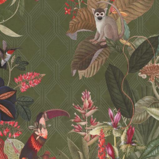 bedrukte velvet met apen en vogels printstof decoratiestof gordijnstof meubelstof 1.152540.1039.535