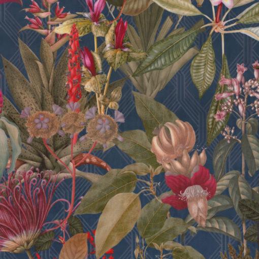bedrukte velvet met bloemen en planten printstof decoratiestof gordijnstof meubelstof 1.152540.1040.465