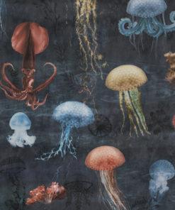 bedrukte jellyfish velvet printstof decoratiestof gordijnstof meubelstof velvet stof kopen fluweel stof kopen velours stof kopen 1.152540.1042.475