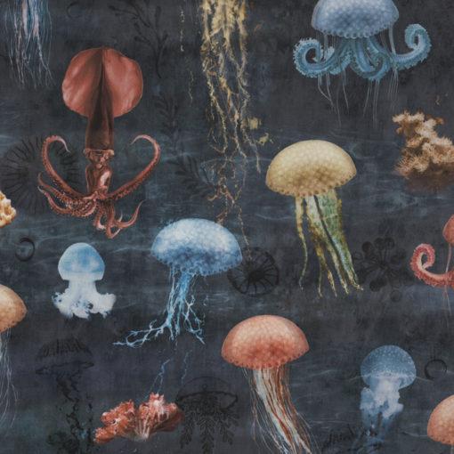 bedrukte jellyfish velvet printstof decoratiestof gordijnstof meubelstof 1.152540.1042.475