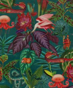 bedrukte velvet jungle velvet printstof met fantasia jungle decoratiestof gordijnstof meubelstof velvet stof kopen fluweel stof kopen velours stof kopen 1.152540.1043.655