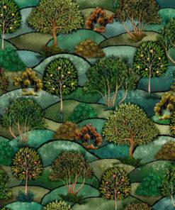 velvet printstof met boompjes decoratiestof gordijnstof meubelstof 1.152540.1044.530