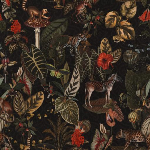 bedrukte velvet met jungle dieren printstof gordijnstof decoratiestof meubelstof 1.152540.1049.540