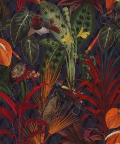 bedrukte velvet met tropische vogels printstof gordijnstof decoratiestof meubelstof velvet stof kopen velours stof kopen fluweel stof kopen 1.152540.1051.655