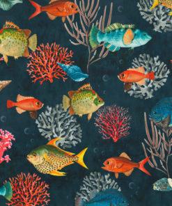 bedrukte velvet met tropische vissen printstof gordijnstof decoratiestof meubelstof velvet stof kopen velours stof kopen fluweel stof kopen 1.152540.1052.655