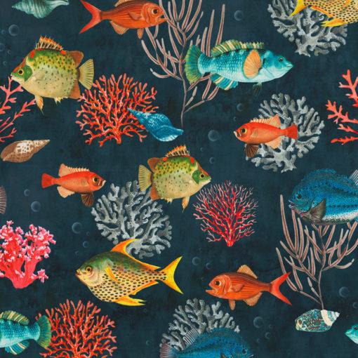 bedrukte velvet met tropische vissen printstof gordijnstof decoratiestof meubelstof 1.152540.1052.655