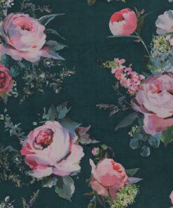 velvet printstof 053 velvet rozen decoratiestof gordijnstof meubelstof 1.152540.1059.545