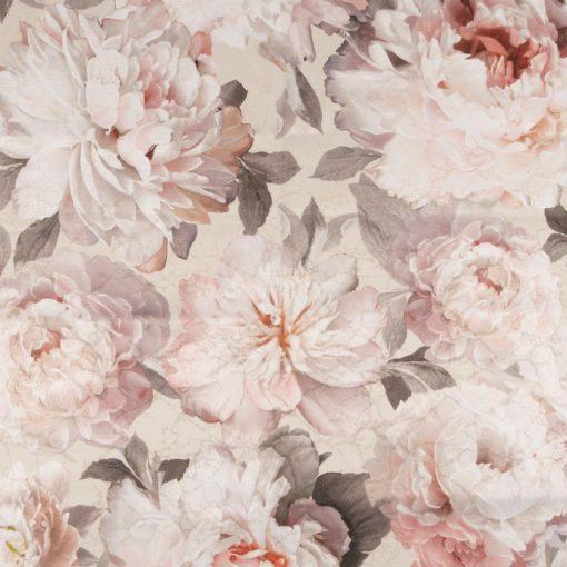 flowerblush cream decoratiestof gordijnstof meubelstof jacquardstof met pioenrozen 1.153033.1011.085