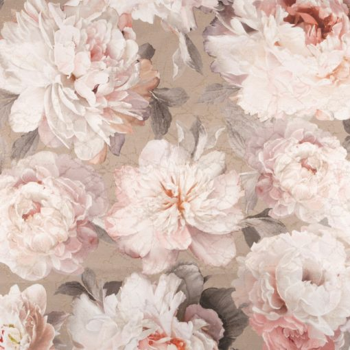 flowerblush taupe decoratiestof gordijnstof meubelstof jacquardstof met pioenrozen1.153033.1012.150