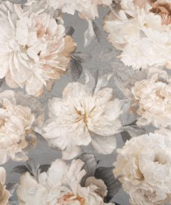 Flowerblush Grey decoratiestof gordijnstof meubelstof jacquardstof met pioenrozen 1.153033.1013.575