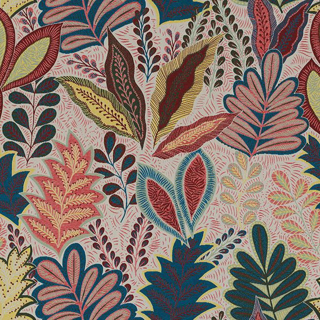 jacquardstof Leaves Multicolor stof met bladeren decoratiestof gordijnstof meubelstof 1.201630.1011.655