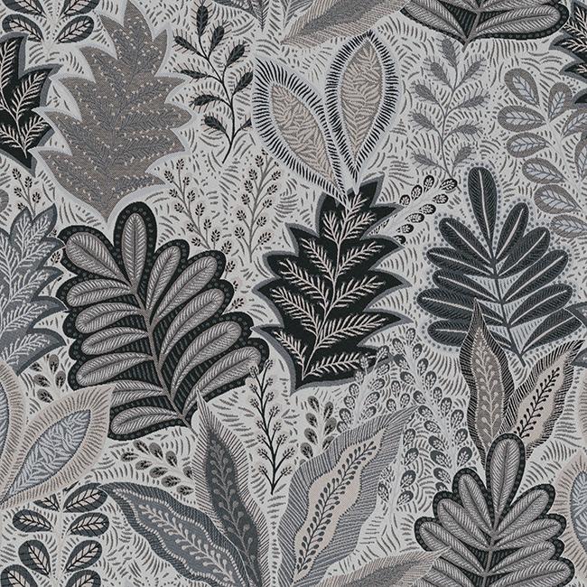 jacquardstof Leaves Grey stof met bladeren decoratiestof gordijnstof meubelstof 1.201630.1012.150
