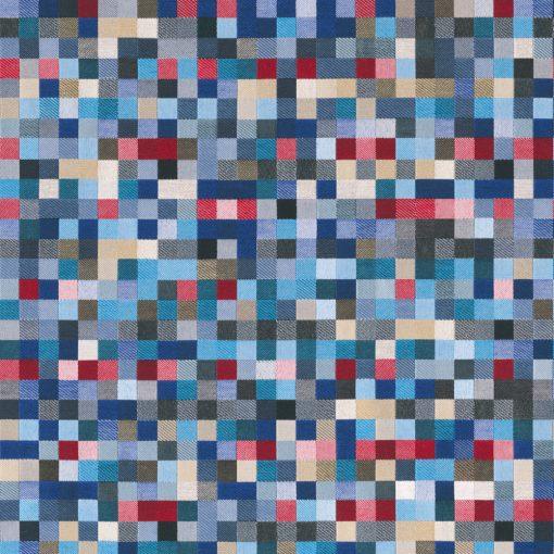 jacquardstof Lounge Blokjes Blauw meubelstof gordijnstof decoratiestof stof met blokjes blokjesstof 1.202530.1105.460