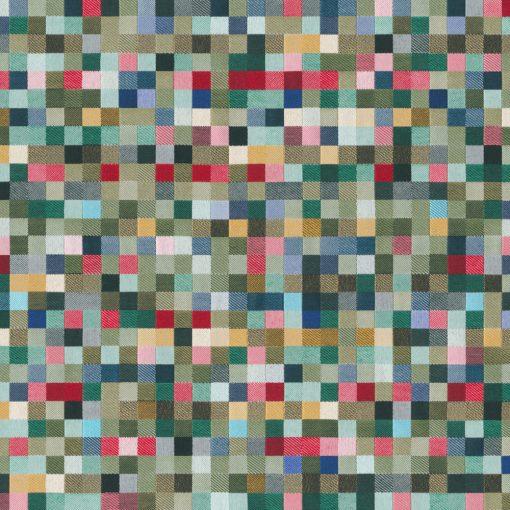 jacquardstof Lounge Blokjes Groen meubelstof gordijnstof decoratiestof stof met blokjes blokjesstof 1.202530.1106.525