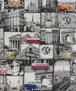 jacquardstof VW loves Paris meubelstof gordijnstof decoratiestof Volkswagen busjes stof met VW busjes 1.202630.1015.655