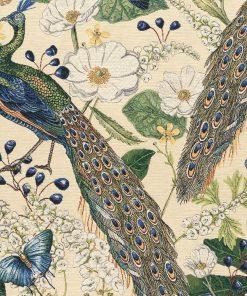 gobelin stof met pauwen decoratiestof gordijnstof meubelstof 1.251030.1570.105