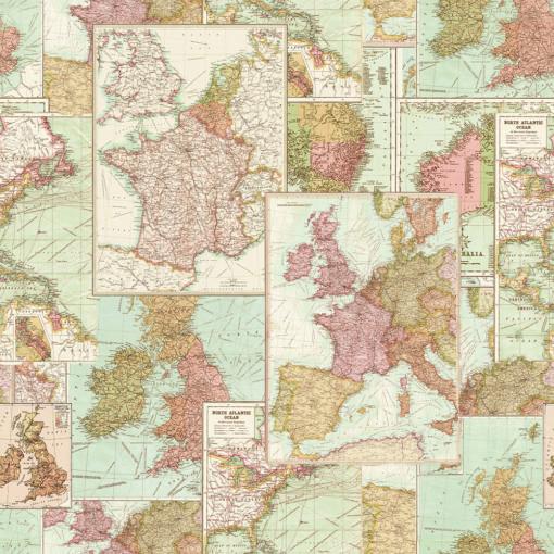 gobelin stof met kaart van Europa decoratiestof gordijnstof meubelstof 1.251030.1588.655