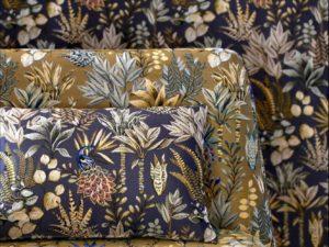 Jacquardstof Amadeus bleu nuit or gordijnstof decoratiestof meubelstof