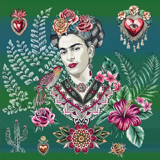 stofpanelen Frida Arista Emeraude jacquardstof