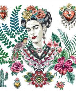 stofpanelen Frida Artista White jacquardstof