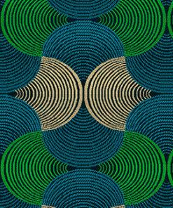 jacquardstof BAKARY bleu-vert interieurstof meubelstof gordijnstof decoratiestof