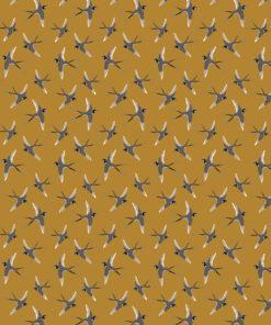 percale katoenprint Bird Peanut katoenen decoratiestof vogels mondkapjes